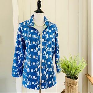 CROWN & IVY BEACH Royal Blue Elephant Zip Jacket